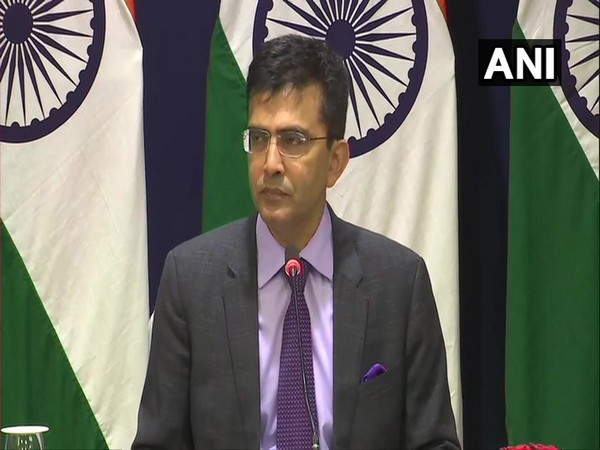 MEA spokesperson Raveesh Kumar speaking to reporters in New Delhi on Friday.
