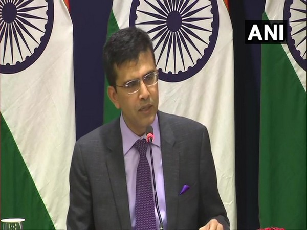 MEA spokesperson Raveesh Kumar speaking to reporters in New Delhi on Friday.