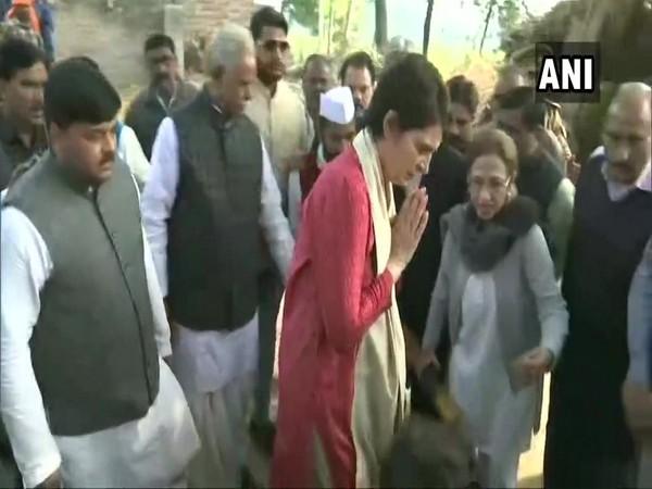 Congress leader Priyanka Gandhi visiting the family of Unnao rape victim on Saturday.