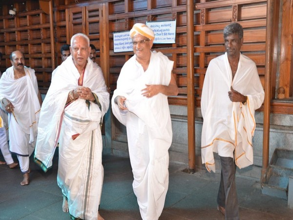 Chief Minister BS Yediyurappa at Swamy Temple in Dharmasthala on Sunday.