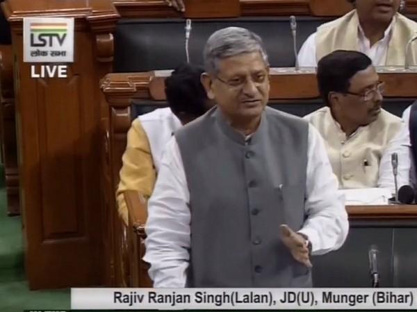 JDU's Rajeev Ranjan Singh speaking in Lok Sabha on Monday. Photo/ANI