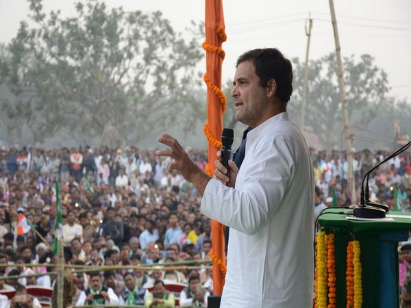 Congress leader Rahul Gandhi speaking at a rally in Rajmahal, Jharkhand on Thursday. (Photo Credits: Congress Twitter)