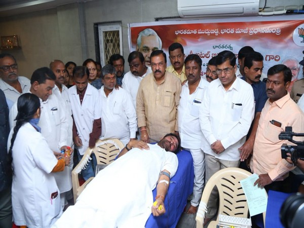 Kishan Reddy donated blood at a camp in Hyderabad on Sunday (Photo tweeted by G Kishan Reddy)