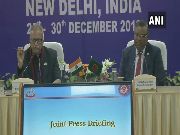 BSF DG Vivek Johri and Director General of Border Guards Bangladesh (BGB) Shafeenul Islam during a joint press conference in New Delhi on Sunday. Photo/ANI