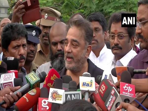 Actor turned politician Kamal Haasan speaking to reporters in Chennai. Photo/ANI
