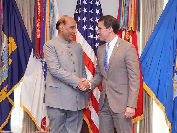 Defence Minister Rajnath Singh with US Secretary of Defense Mark T Esper