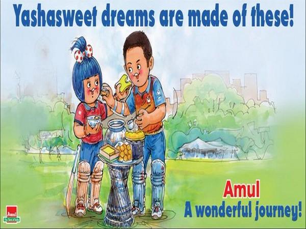 Amul India dedicates doodle to Yashasvi Jaiswal (Photo/ Amul India Twitter)