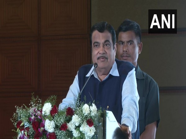 Union Minister Nitin Gadkari speaking at an event in Nagpur on Sunday. Photo/ANI