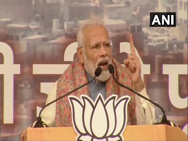 Prime Minister Narendra Modi at a rally in Delhi on Sunday. Photo/ANI