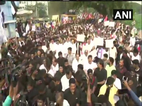 Huge number of people turned at DMK-led anti-CAA rally in Chennai on Monday. Photo/ANI