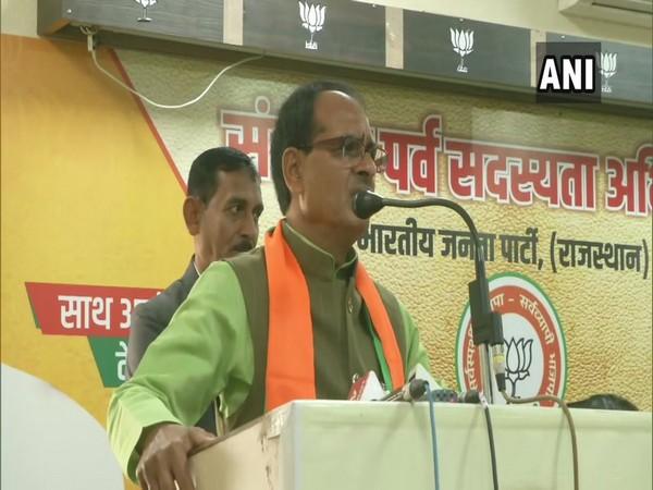 BJP leader Shivraj Singh Chouhan speaking at an event in Jainpur on Monday. Photo/ANI