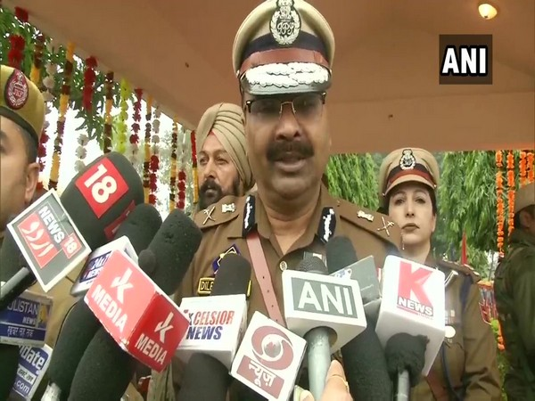 Jammu and Kashmir Director General of Police (DGP) Dilbag Singh speaking to reporters in Vijapur on Monday.