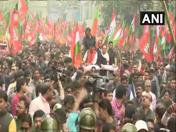 BJP working president JP Nadda and party general secretary in-charge of West Bengal Kailash Vijayvargiya at a march in support of Citizenship Act in Kolkata on Monday.