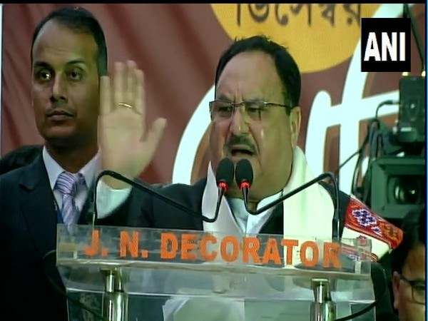 BJP working president JP Nadda addressing a public rally on Monday in Kolkata. Photo/ANI
