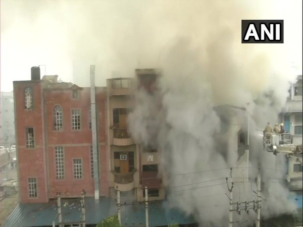 Visuals of the shoe factory in Narela industrial area where fire broke out Tuesday morning. Photo/ANI