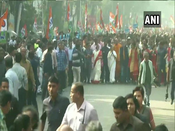 West Bengal CM Mamata Banerjee leads protest march against CAA in Kolkata on Monday