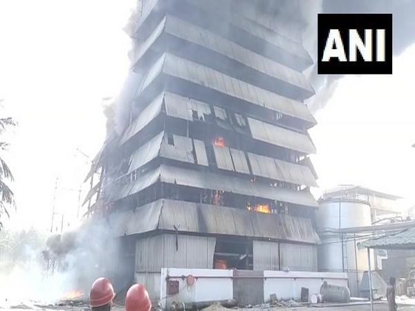Fire breaks out at Srichakra Oil Mill at Peeraramachandrapuram village in East Godavari district. [Photo/ANI]