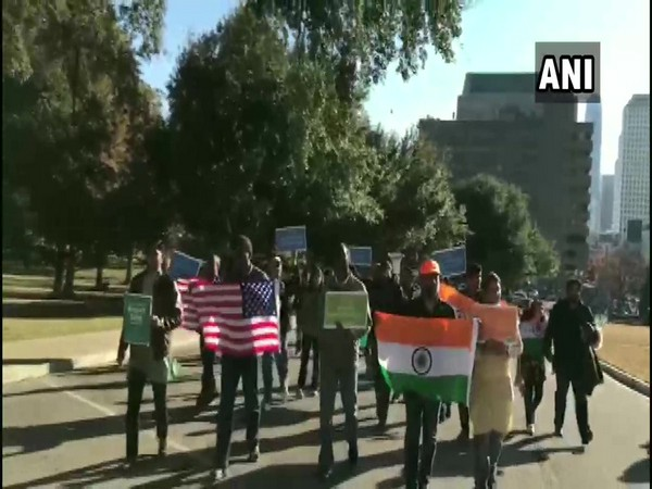 A view of pro CAA rally organised by Indian diaspora in US.