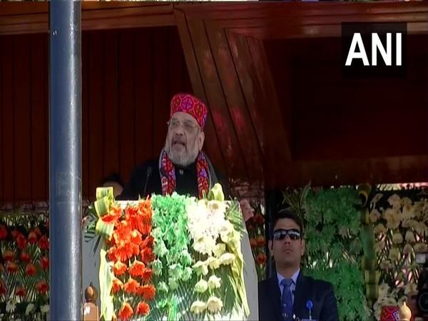 Union Home Minister Amit Shah addressing the public in Shimla on Friday (Photo/ANI)