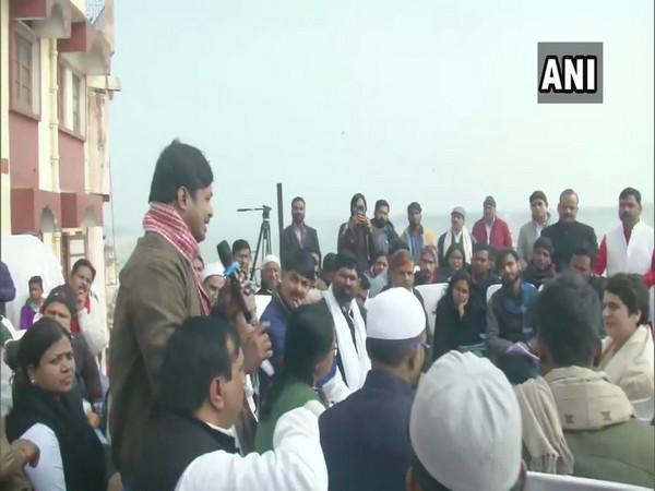 Congress leader Priyanka Gandhi Vadra interacting with BHU students and civil society members in Varanasi on Friday.