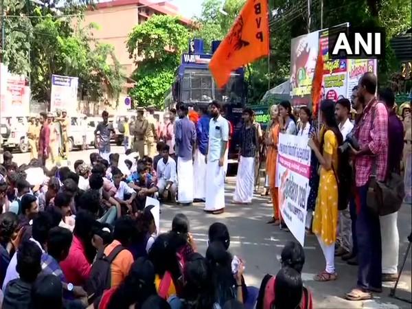 ABVP rally in Thiruvananthapuram, Kerala on Friday. Photo/ANI