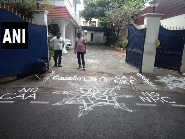 Rangoli against CAA, NRC at DMK leader's house in Chennai on Monday. Photo/ANI