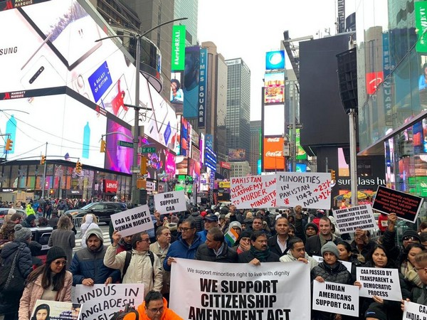 India diaspora demonstrating in support of CAA on Sunday