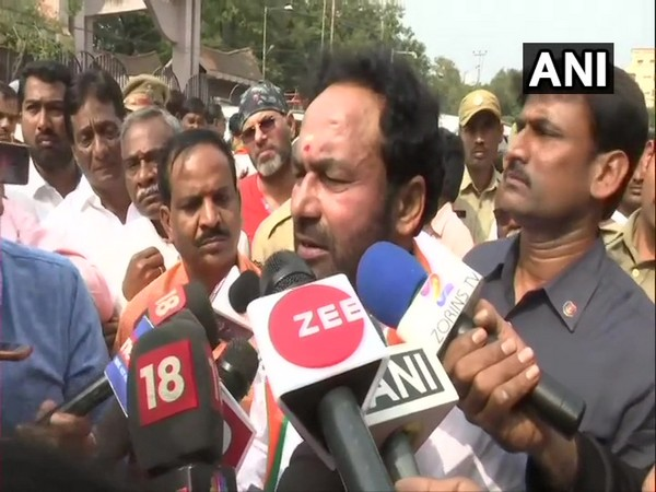 Union Minister of State for Home Affairs G Kishan Reddy talking to reporters in Hyderabad, Telangana on Monday. Photo/ANI