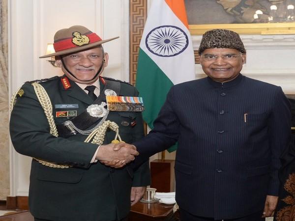 Army Chief General Bipin Rawat called on President Ram Nath Kovind on Monday. (Photo tweeted by Rashtrapati Bhavan)