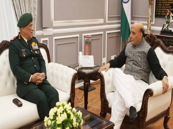 Defence Minister Rajnath Singh meeting CDS General Bipin Rawat at South Block on Wednesday. (Photo/ANI)