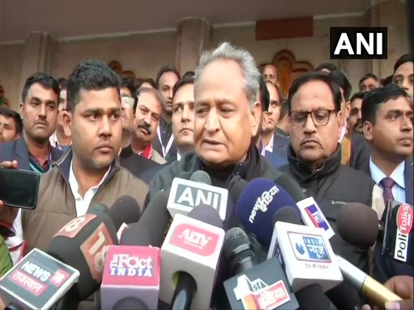 Rajasthan Chief Minister Ashok Gehlot talking to reporters in Jaipur, Rajasthan on Thursday. Photo/ANI