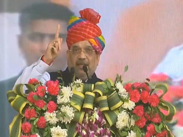 Union Home Minister Amit Shah addressing a rally in Jodhpur on Friday. (Photo/ANI)