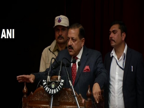 Union Minister Jitendra Singh speaking at an event in Jammu on Friday. Photo/ANI