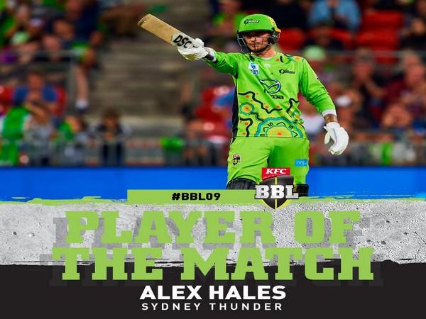 Sydney Thunder's Alex Hales (Image: BBL's Twitter)