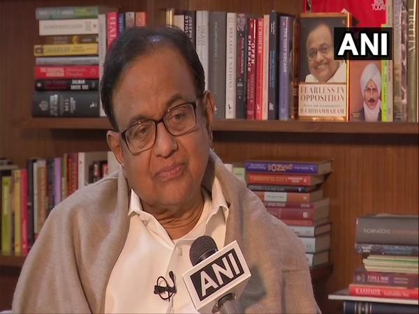 Congress leader P Chidambaram speaking to ANI on Saturday.