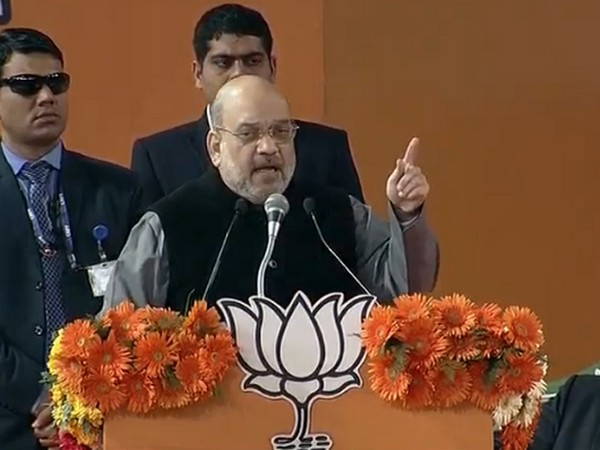 Home Minister Amit Shah addressing a public gathering in Delhi on Sunday [Photo/ANI]