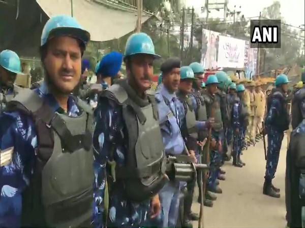 Forces deployed outside AMU in Uttar Pradesh's Aligarh on Monday.