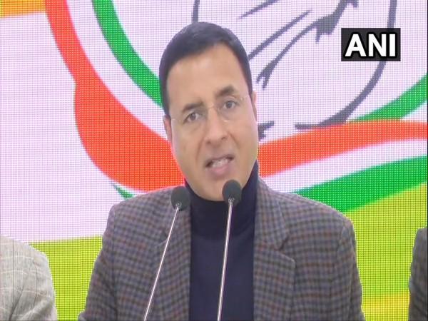 Congress national spokesperson Randeep Singh Surjewala addressing a press conference inNew delhi on Monday. (Photo/ANI)
