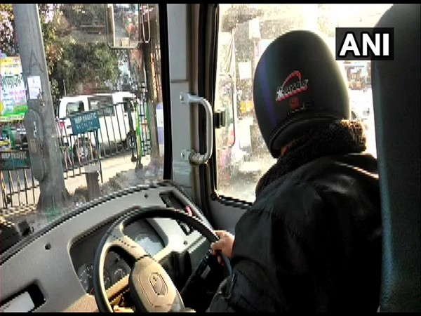 NBSTC bus driver wearing helmet in the wake of protests on Wednesday. Photo/ANI