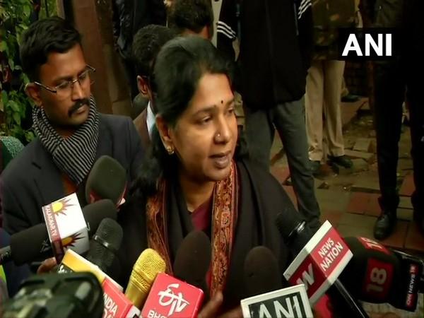 DMK lawmaker Kanimozhi speaking to media in New Delhi on Wedneday. (Photo/ANI)