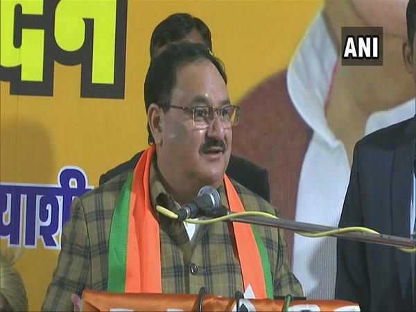 BJP president JP Nadda addressing a rally in Mehrauli, New Delhi on Thursday. (Photo/ANI)