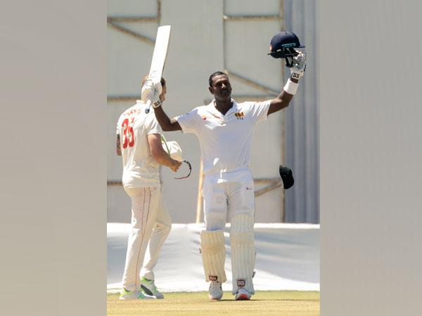 Sri Lanka's Angelo Mathews in action against Zimbabwe (Photo/ Sri Lanka Cricket Twitter)