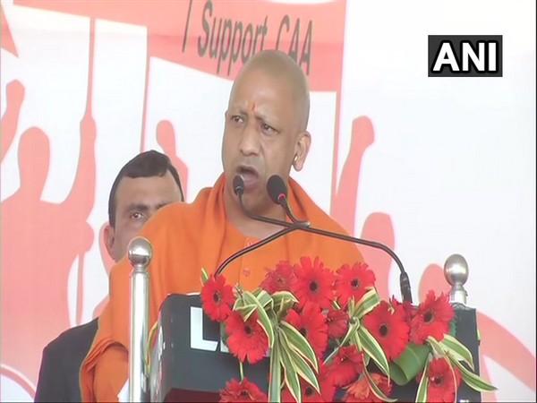 Uttar Pradesh Chief Minister Yogi Adityanath addressing a pro-CAA rally in Agra, Uttar Pradesh, on Thursday. (Photo/ANI)