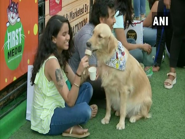 A Pet owner feeds her pet dog at the third edition of Pet Fed Mumbai in Juhu, Maharashtra.
