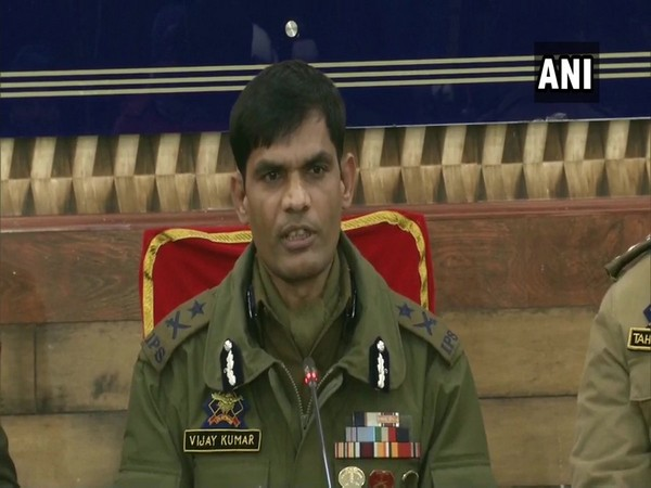 Inspector General of Police Vijay Kumar speaking to media persons on Sunday in Srinagar. Photo/ANI