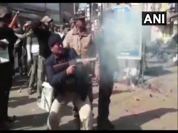 Police used tear gas to disperse the crowd in Giridih on Sunday.
