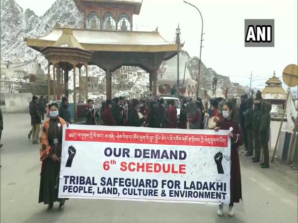 The protest was organised by Students' Organisation of Unified Ladakh in Ladakh on Sunday. Photo/ANI