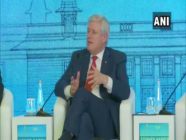 Former Canada PM Stephen Harper addressing the Raisina Dialogue on Tuesday