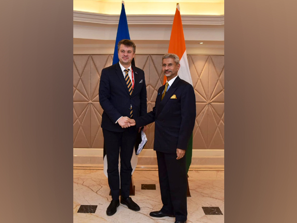 Estonia Foreign Minister Urmas Reinsalu meets External Affairs Minister S Jaishankar on Wednesday in New Delhi. Photo/ANI