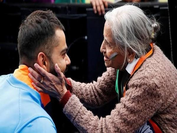 Indian skipper Virat Kohli with Charulata Patel (Photo/ BCCI Twitter)